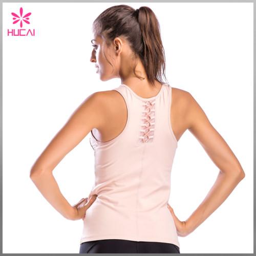 Wholesale Dry Fit Polyester Spandex Gym Clothing Women Plain Yoga Vest