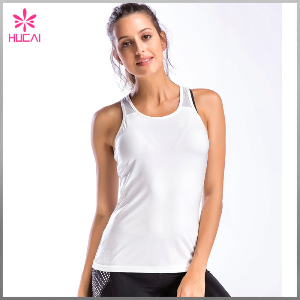 Wholesale Yoga Wear Women Slim Fit Mesh Back Racerback Tank Top