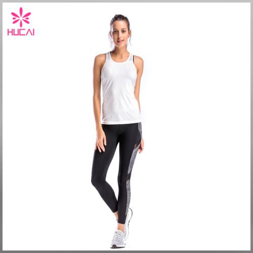 Wholesale Yoga Wear Women Slim Fit Mesh Back Racerback Tank Top