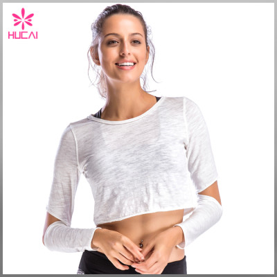 Custom Light Weight Breathable Fabric Crop Long Sleeve T Shirt For Women