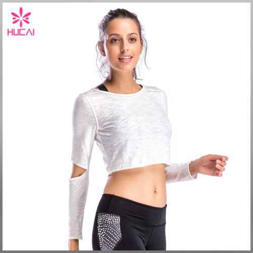 Custom Light Weight Breathable Fabric Crop Long Sleeve T Shirt For Women