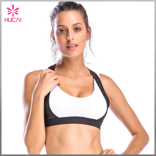 High Quality Double Layer Yoga Wear Mesh Cover Racerback Sports Bra