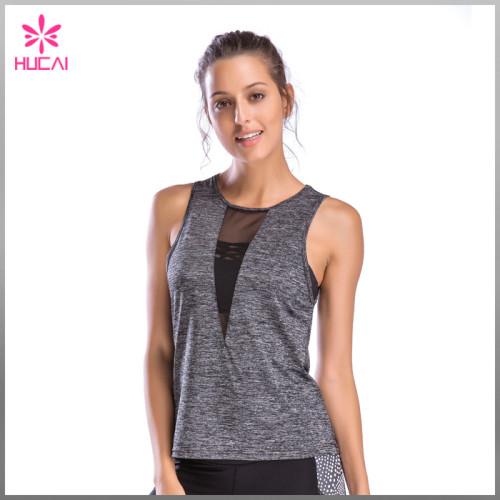 Wholesale Gym Clothing Mesh Insert Slim Fit Women Custom Tank Tops