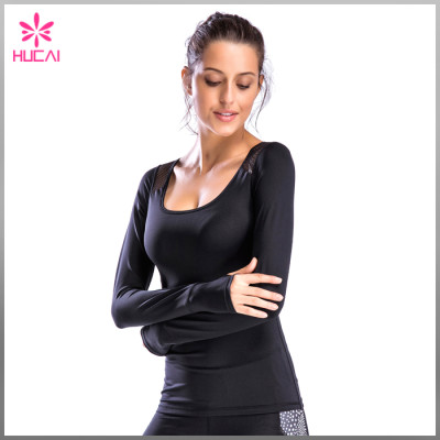 New Design Mesh Slim Fit Gym Clothing Long Sleeve T Shirt Women Custom