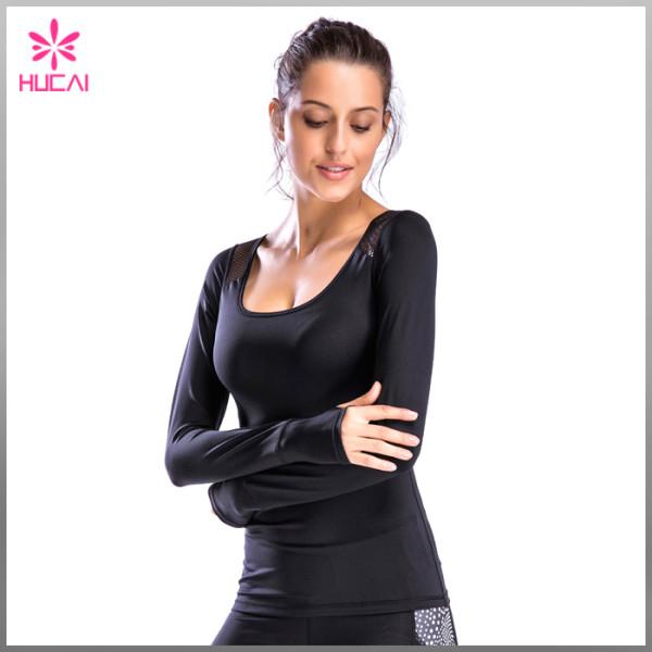 New Design Mesh Slim Fit Gym Clothing Long Sleeve T Shirt Women Custom