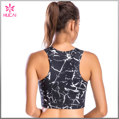 Wholesale Yoga Wear Women Dry Fit Sexy Marble Print Crop Tops