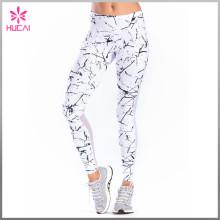 Custom Yoga Tights Marble Printed Full Length Mesh Fitness Leggings