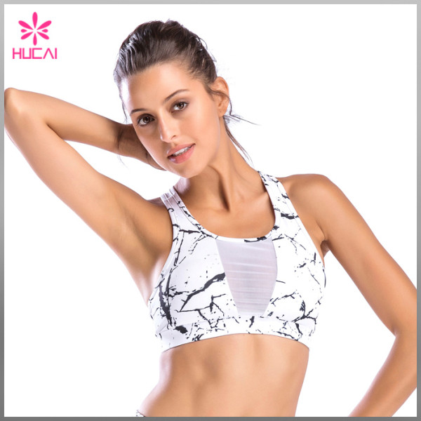 OEM Marble Yoga Clothing Gym Apparel Mesh Printed Sports Bra
