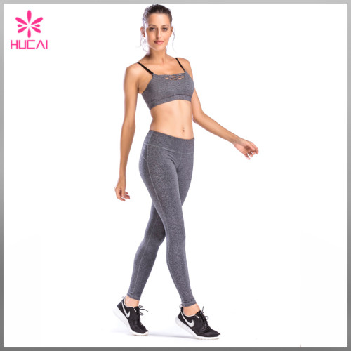 Custom Design Heather Gray Yoga Wear Dry Fit Strappy High Impact Sports Bra