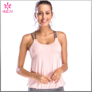 Wholesale Plain Gym Clothing Women Strappy Tank Top With Built In Bra