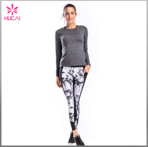 Full Length Middle Rise Women Yoga Wear Mesh Printed Gym Tights