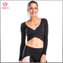 Wholesale Long Yoga T Shirt Workout Wear Slim Fit Crop Sleeves Womens