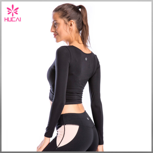 Wholesale Long Yoga T Shirt Workout Wear Slim Fit Crop Sleeves Womens