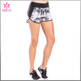 Wholesale Dry Fit Mesh Insert Women Printed Gym Shorts With Back Zip Pocket