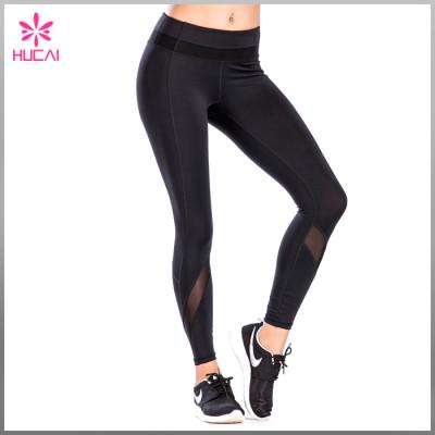 Full Length Plain Color Yoga Apparel Women Mesh Sports Leggings