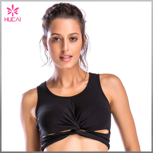 Wholesale Nylon Spandex front twisted Crop Top Sexy Women's Running Sports Bra
