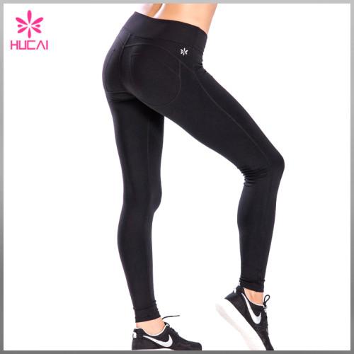 New Design Yoga Apparel Plain Black Slim Fit Womens Sports Tights Pants