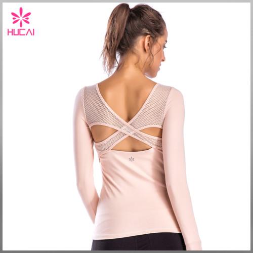 Custom Slim Fit Yoga Clothes Dry Fit Long Sleeve Womens Mesh Gym Shirt