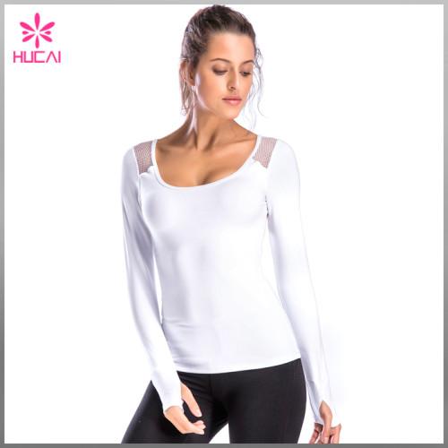 High Quality Sports Wear Backless Women Mesh Long Sleeve Gym T Shirt