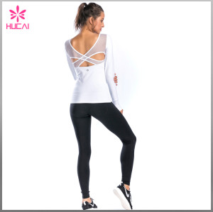 High Quality Sports Wear Backless Women Mesh Long Sleeve Gym T Shirt