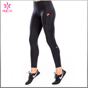 Custom Gym Tights Full Length Slim Fit Compression Leggings With Pockets