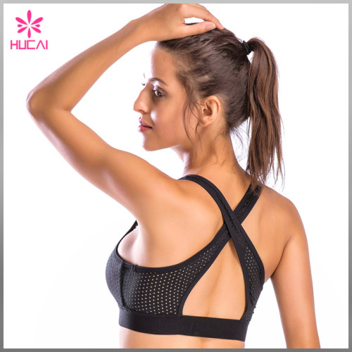 Wholesale Fitness Clothing Women Yoga Wear Dry Fit Mesh Push Up Sports Bra