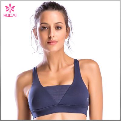 Wholesale Nylon Spandex Fitness Wear V Front Strappy Back Ladies Yoga Bra