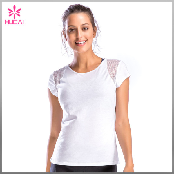Wholesale Dry Fit Polyester Spandex Gym Tee Women Short Sleeve Mesh Yoga Shirt