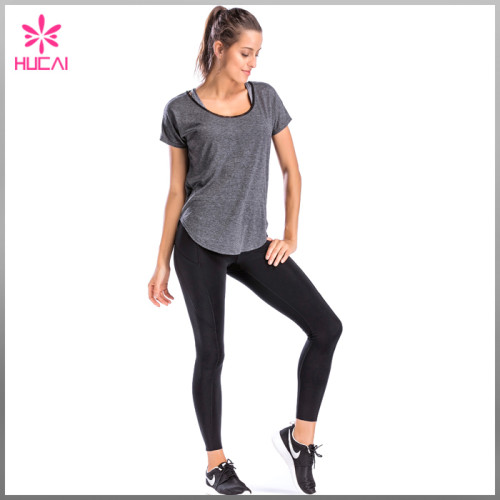 Hucai OEM Backless Fitness Clothing Round Neck Loose Fit Ladies Yoga Shirts