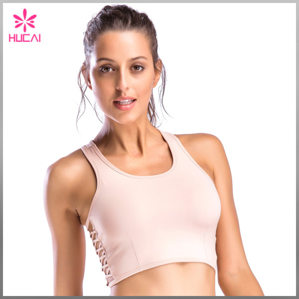 Hucai Wholesale Round Neck Sports Clothes Dry Fit Racerback Women Fitness Bra