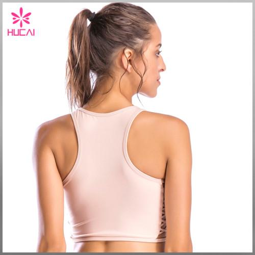 Hucai Wholesale Round Neck Sports Clothes Dry Fit Racerback Women Fitness Bra