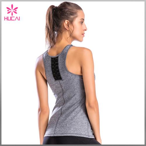 Wholesale Slim Fit Yoga Wear Dry Fit Racerback Women Mesh Gym Vest