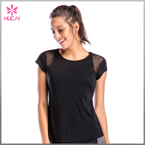 Hucai Wholesale Gym Clothing Running Wear Quick Dry Women Mesh Workout T Shirt