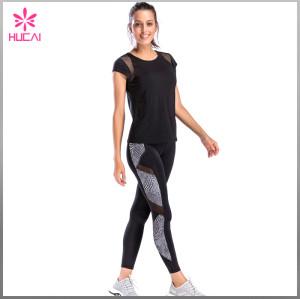 Hucai Wholesale Gym Clothing Running Wear Quick Dry Women Mesh Workout T Shirt