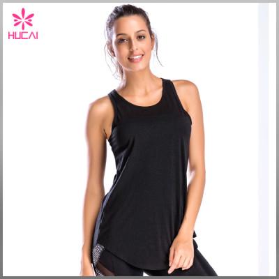 Hucai Wholesale Modal Spandex Gym Wear Loose Fit Women Backless Tank Top