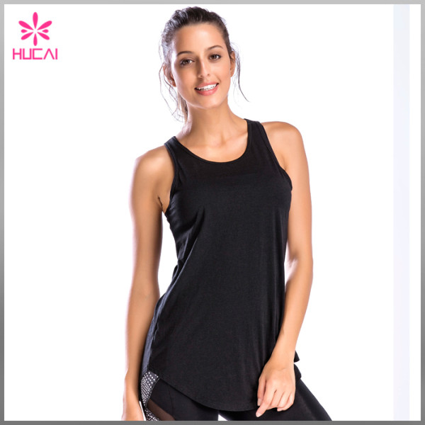 Hucai Wholesale Modal Spandex Gym Wear Loose Fit Women Backless Tank Top