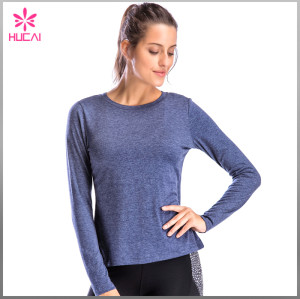 Hucai Wholesale Fitted Gym Apparel Women Long Sleeve Fitness Shirts