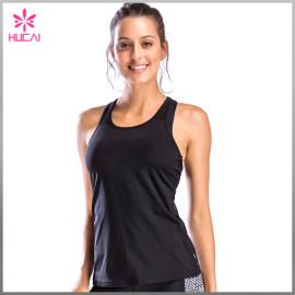 Hucai Custon Yoga Wear Slim Fit Women Mesh Racerback Fitness Tank Top