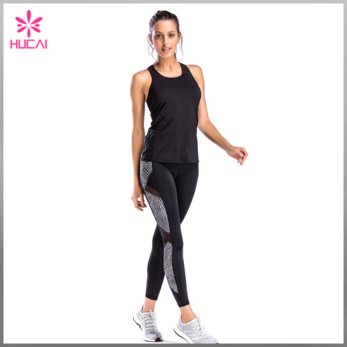 Hucai Custon Yoga Wear Slim Fit Women Mesh Racerback Fitness Tank Top