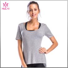 Custom Gym Clothing V Back Women Short Sleeve Running T Shirt
