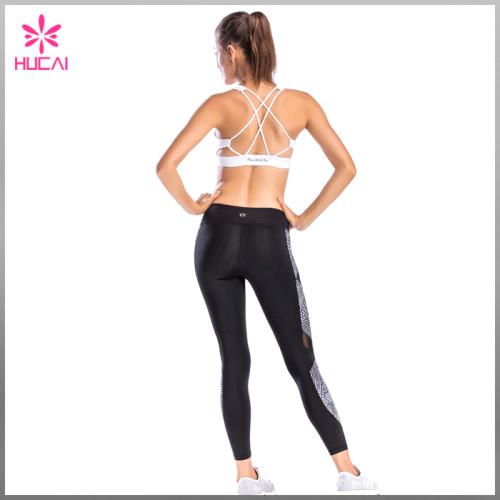 Hucai High Quality Gym Clothing Women Sports Wear Strappy X Back Yoga Bra