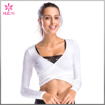 New Design Gym Apparel Yoga Clothing Women Crop Long Sleeve Sports T Shirt