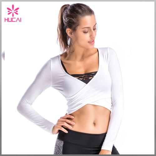 New Design Gym Apparel Yoga Clothing Women Crop Long Sleeve Sports T Shirt
