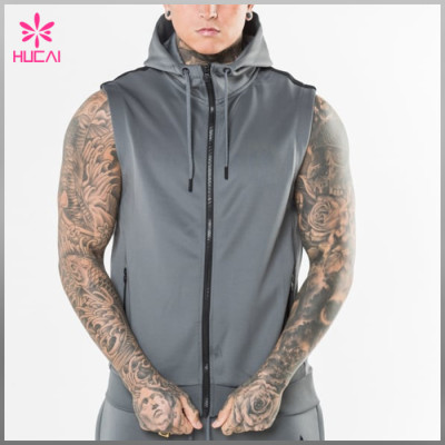 OEM Polyester Gym Clothing Custom Blank Mens Sleeveless Hoodie