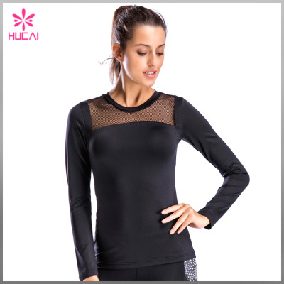 Custom Dry Fit Gym Apparel Slim Fit Mesh Long Sleeve Workout Shirts Women