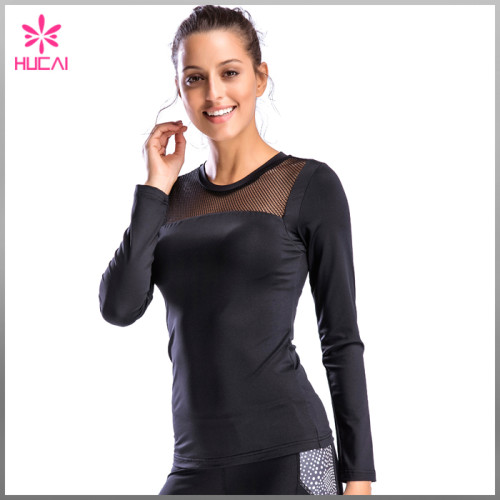Custom Dry Fit Gym Apparel Slim Fit Mesh Long Sleeve Workout Shirts Women