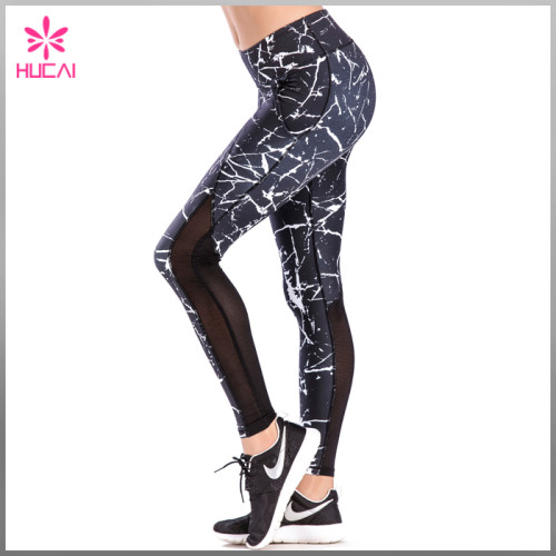 Hucai Polyester Spandex Fitness Wear Women Mesh Dry Fit Marble Yoga Pants