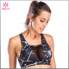Wholesale Mesh Panel Sports Clothes Women Marble Printed Padded Yoga Bra