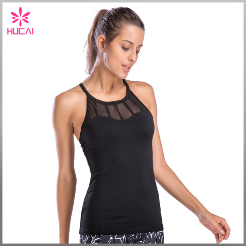 OEM Factory Custom Mesh Workout Tank Top For Women With Built In Bra