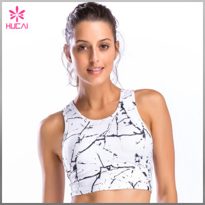 Custom Polyester Spandex Yoga Wear Quick Dry Women Sublimation Crop Tops